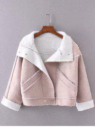 Faux Suede Fleece Trim Cropped Jacket