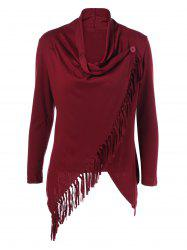 Fringe Asymmetrical Cardigan - WINE RED