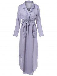 Belted Maxi Surplice Dress