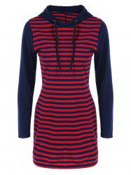 Two Tone Striped Hoodie Dress - STRIPE XL