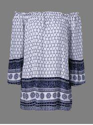 Printed Off The Shoulder Tunic Shift Dress - WHITE XL