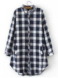 Plus Size Curved Hem Plaid Flannel Shirt - WHITE 4XL
