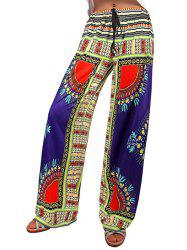 Pantalon Tribal Print Wide-Leg Plazzo - Multicolore