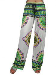 Drawstring Tropical Print Exumas Palazzo Pants - COLORMIX