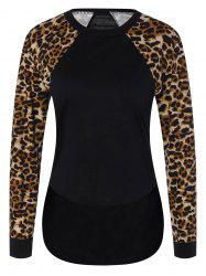 Leopard Trim High Low Sweatshirt
