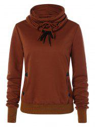 Drawstring Vertical Pockets Sweatshirt - BROWN M