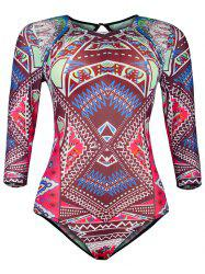 Ornate Print Hollow Out Mesh One-Piece Swimwear - COLORMIX 2XL