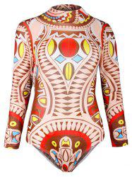 Ornate Print Mesh Surfing One-Piece Swimwear - COLORMIX 2XL