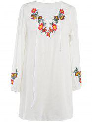 Lace-Up Floral Embroidery Shift Dress -