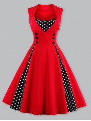 Vintage Polka Dot Panel Prom Swing Dress - RED