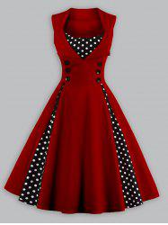 Vintage Polka Dot Panel Prom Swing Dress - WINE RED