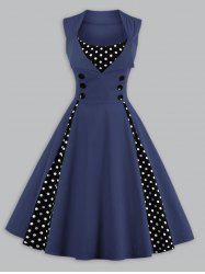 Vintage Polka Dot Panel Prom Swing Dress - CADETBLUE