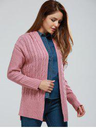 Collarless Cable Knitting Cardigan -