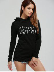 Long Sleeve Letter Print Graphic Hoodie - BLACK XL