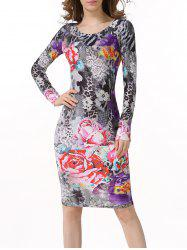 Floral Leopard Bodycon Dress with Long Sleeves