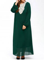 Plus Size Muslim Lace Insert Maxi Long Sleeve Dress