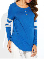 Striped Asymmetric Long Sleeve T-Shirt