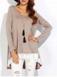 Lace Insert High Low T-Shirt