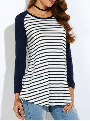 Raglan Sleeve Asymmetric Striped T-Shirt -