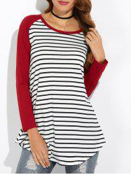 Raglan Sleeve Asymmetric Striped T-Shirt