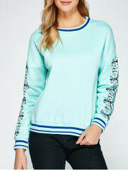 Vintage Floral Printed Striped Sweatshirt