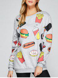 All Over Food Printed Funny Long Sweatshirt