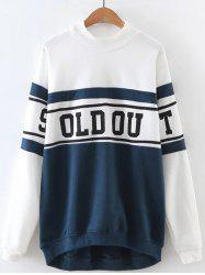 Letter Printed Color Block Sweatshirt