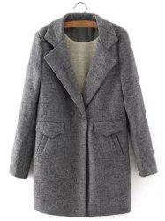 One Button Sherpa Fleece Spliced Coat - GRAY