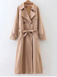 Slimming Double Breasted Long Trench Coat - KHAKI