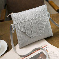 Fringe Textured PU Leather Cross Body Bag - GRAY