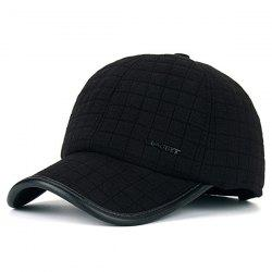 Warm Alloy Sport Label Earmuff Plaid Baseball Hat -