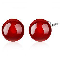 Artificial Gemstone Ball Earrings