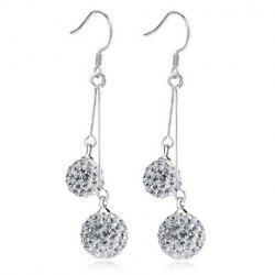 Rhinestoned Balls Drop Earrings - SILVER