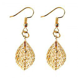 Rhinestone Filigree Leaf Drop Earrings -