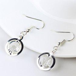 Faux Gem Circle Drop Earrings -