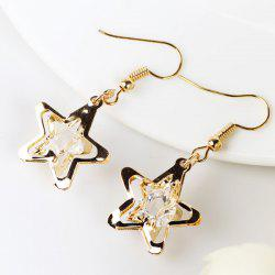 Faux Gem Star Drop Earrings - GOLDEN