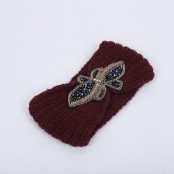 Winter Rhinestone Bowknot Infinite Knitted Headband - BORDEAUX