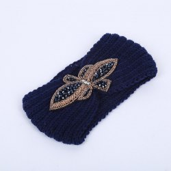 Winter Rhinestone Bowknot Infinite Knitted Headband