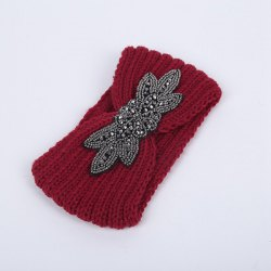 Winter Retro Rhinestone Flower Infinite Knitted Headband