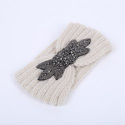 Winter Retro Rhinestone Flower Infinite Knitted Headband - WHITE