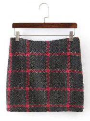 Checked Mini  Wool Blend Skirt - GRAY S