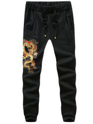 Drawstring Waist Dragon Embroidery Pants -