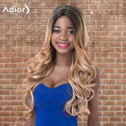Adiors Long Shaggy Wavy Middle Parting Highlight Synthetic Wig