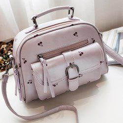 PU Leather Buckle Strap Cherry Print Handbag - PURPLE