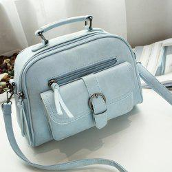 Buckle PU Leather Handbag - LIGHT BLUE