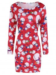 Festival Fulled Christmas Snowman Print Dress - RED XL