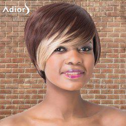 Adiors Short Shaggy Side Bang Highlights Straight Synthetic Wig -