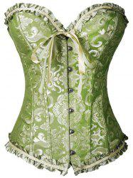 Steel Boned Ruffled Jacquard Corset - GREEN