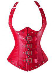 Cupless Buckle Rivet Leather Corset - RED