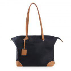 PU Leather Panel Pendant Shoulder Bag